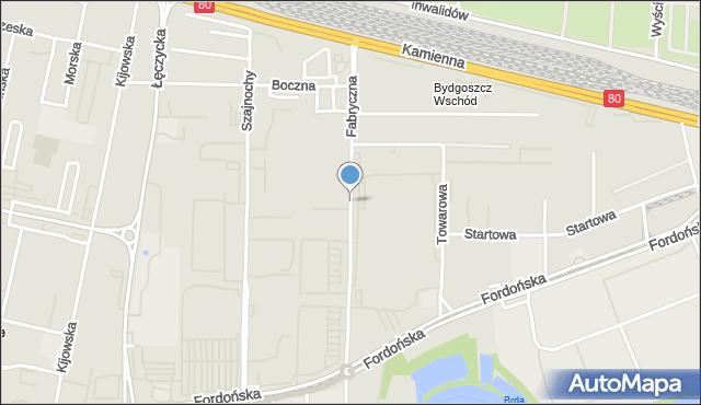 Bydgoszcz, Fabryczna, mapa Bydgoszczy