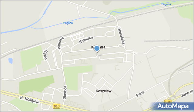 Będzin, Franciszka Żwirki i Stanisława Wigury, mapa Będzin