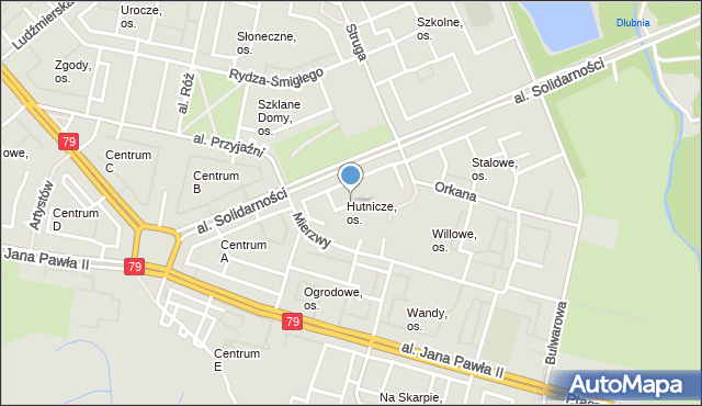 Kraków, Hutnicze, os., mapa Krakowa