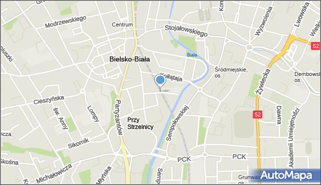 Bielsko-Biała, Inwalidów, mapa Bielsko-Białej