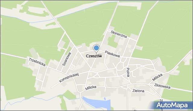 Czeszów, Kasztanowa, mapa Czeszów