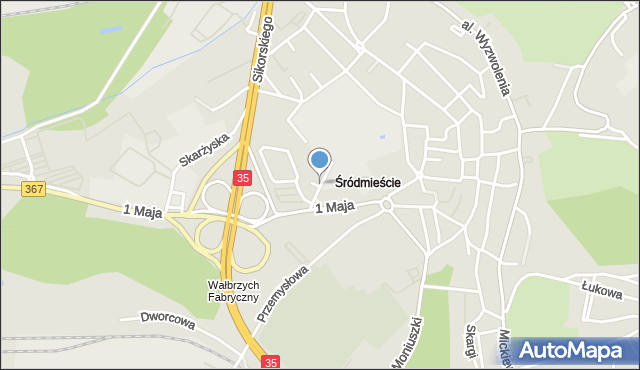 Wałbrzych, Kasztanowa, mapa Wałbrzycha