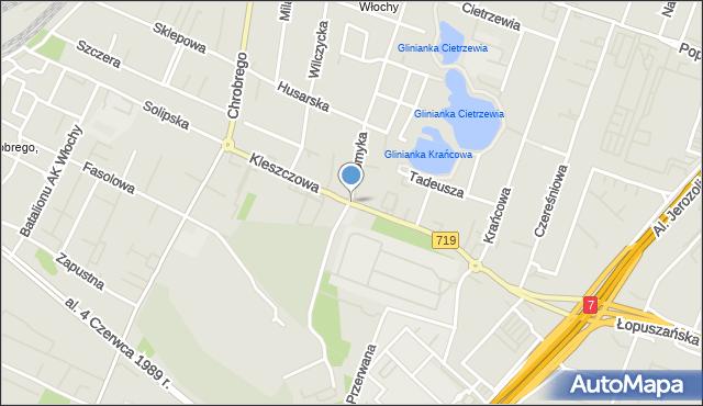 Warszawa, Kleszczowa, mapa Warszawy