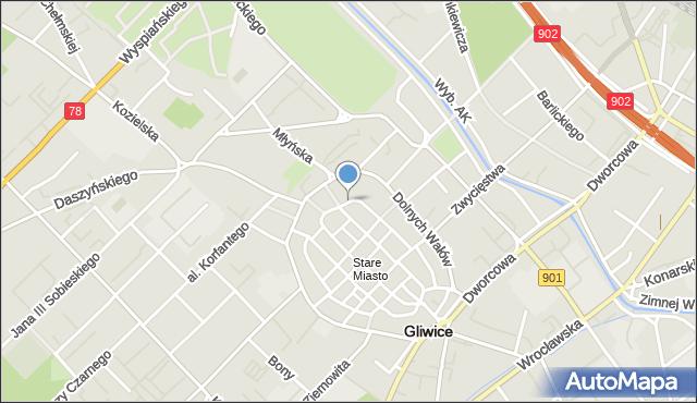 Gliwice, Kościelna, mapa Gliwic