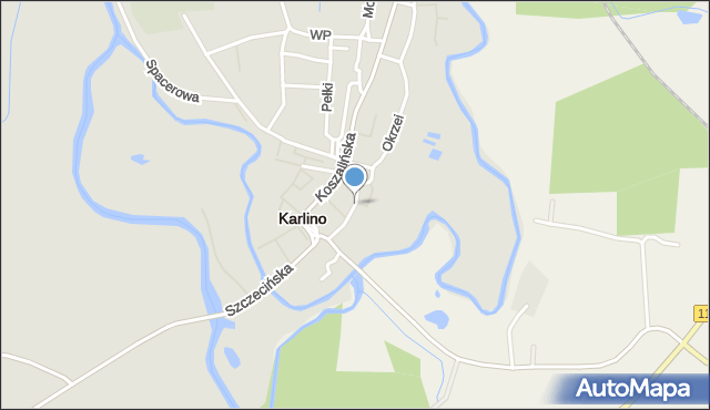 Karlino, Konopnickiej, mapa Karlino