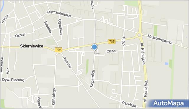 Skierniewice, Kopernika Mikołaja, mapa Skierniewic