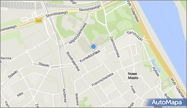 Warszawa, Konwiktorska, mapa Warszawy