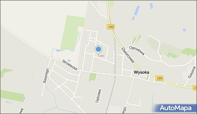 Wysoka, Kościuszki Tadeusza, gen., mapa Wysoka