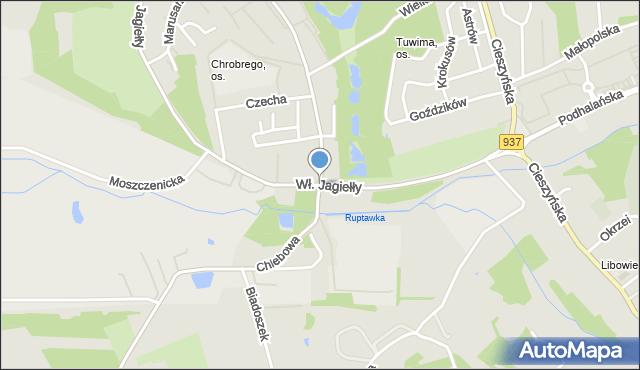 Jastrzębie-Zdrój, Króla Władysława Jagiełły, mapa Jastrzębie-Zdrój