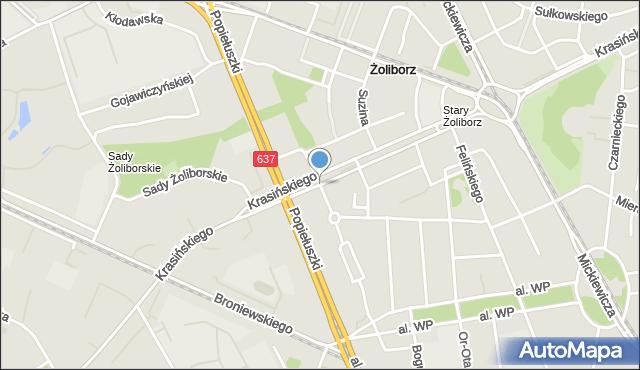 Warszawa, Krasińskiego Zygmunta, mapa Warszawy