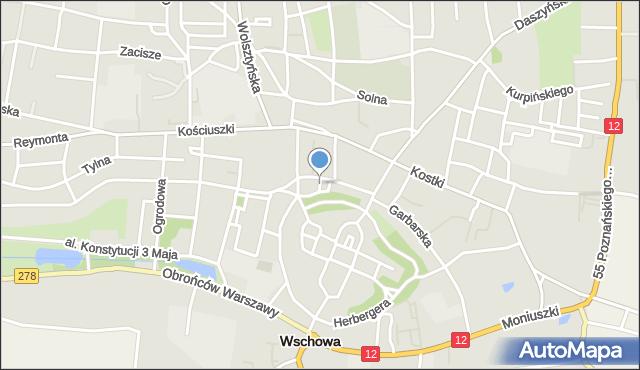 Wschowa, Kuśnierska, mapa Wschowa