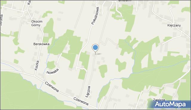 Okocim, Łączna, mapa Okocim