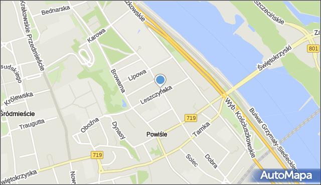 Warszawa, Leszczyńska, mapa Warszawy