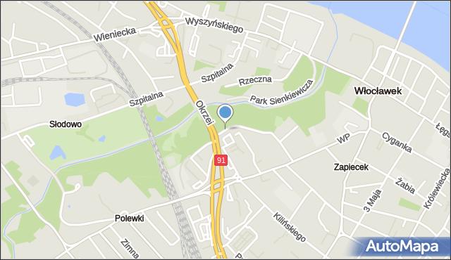 Włocławek, Lunewil, mapa Włocławka