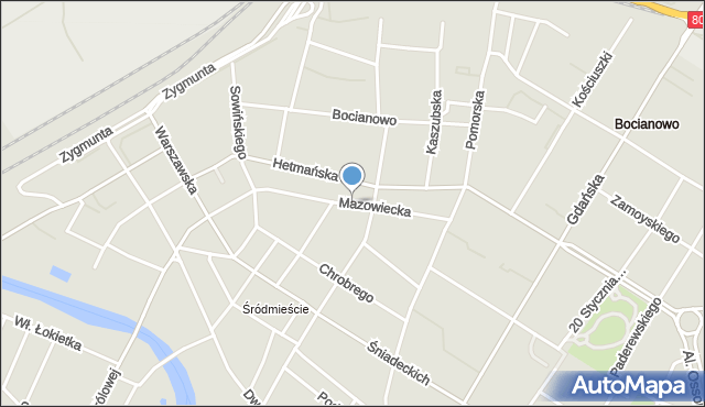 Bydgoszcz, Mazowiecka, mapa Bydgoszczy