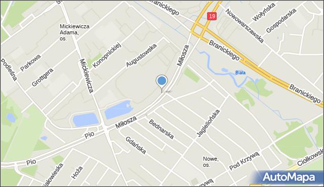 Białystok, Miłosza Czesława, mapa Białegostoku