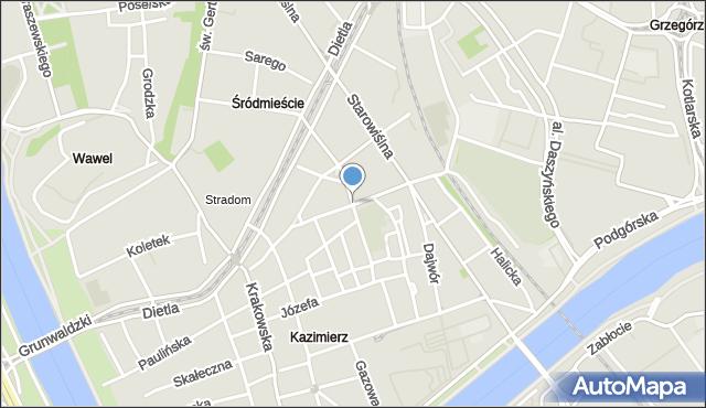 Kraków, Miodowa, mapa Krakowa