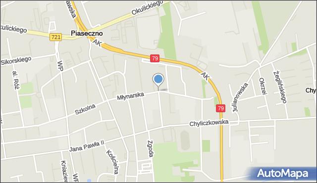 Piaseczno, Młynarska, mapa Piaseczno