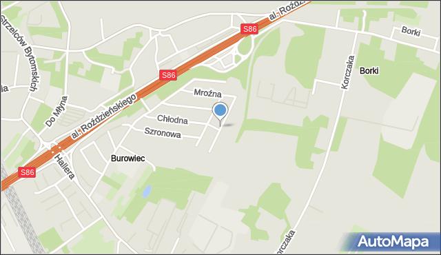 Katowice, Mroźna, mapa Katowic