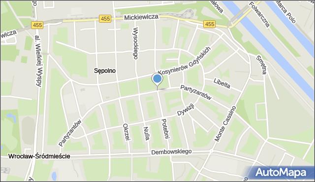 Wrocław, Partyzantów, mapa Wrocławia