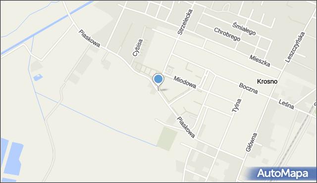 Krosno, Piaskowa, mapa Krosna