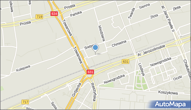 Warszawa, Platynowa, mapa Warszawy