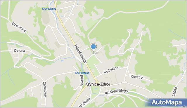 Krynica-Zdrój, Podgórna, mapa Krynica-Zdrój