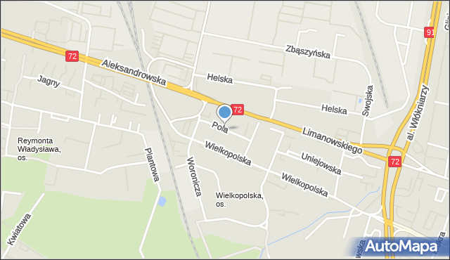 Łódź, Pola Wincentego, mapa Łodzi