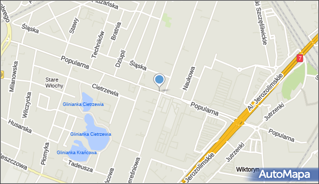 Warszawa, Popularna, mapa Warszawy