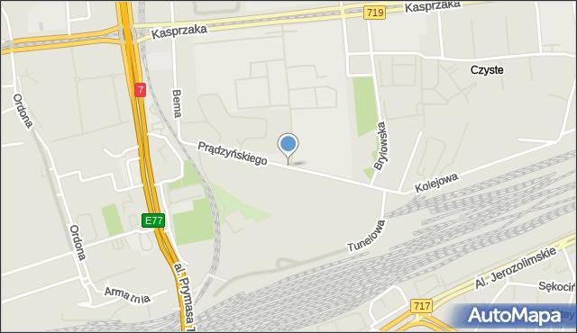 Warszawa, Prądzyńskiego Ignacego, mapa Warszawy