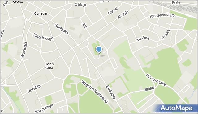 Jelenia Góra, Ptasia, mapa Jelenia Góra