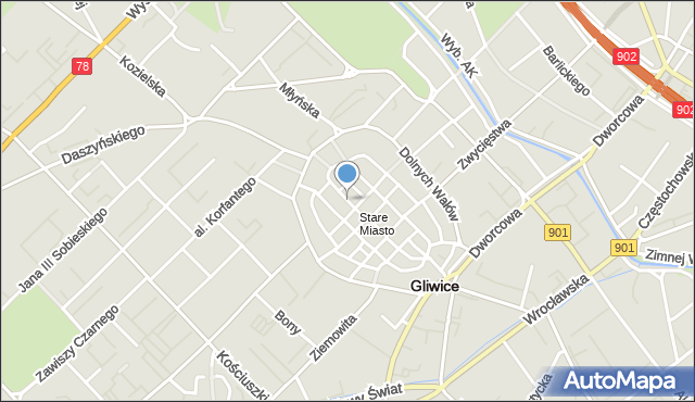 Gliwice, Raciborska, mapa Gliwic