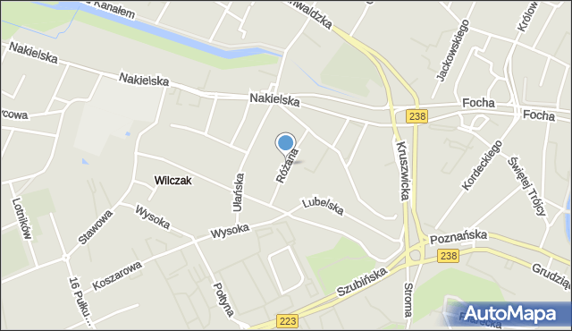 Bydgoszcz, Różana, mapa Bydgoszczy