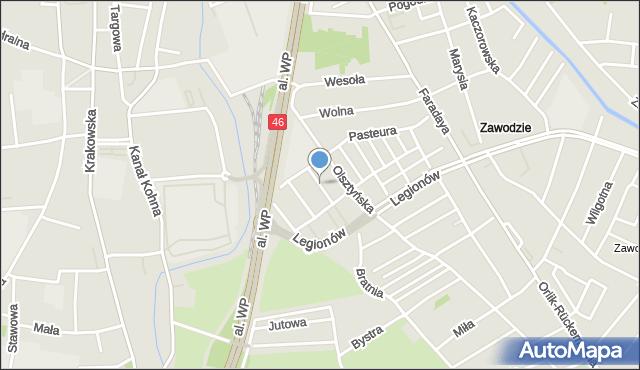 Częstochowa, Roentgena, mapa Częstochowy