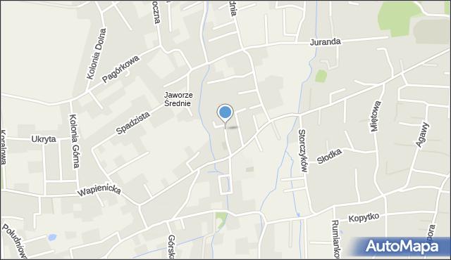 Jaworze, Romantyczna, mapa Jaworze