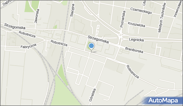 Wrocław, Robotnicza, mapa Wrocławia