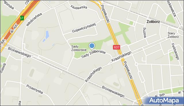Warszawa, Sady Żoliborskie, mapa Warszawy