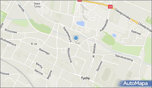 Tychy, Sienkiewicza, mapa Tychów