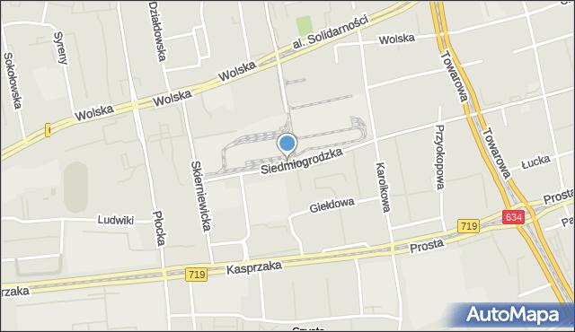 Warszawa, Siedmiogrodzka, mapa Warszawy
