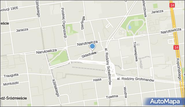 Łódź, Składowa, mapa Łodzi