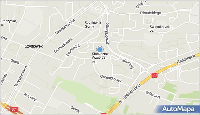 Kielce, Słoneczne Wzgórze, os., mapa Kielc