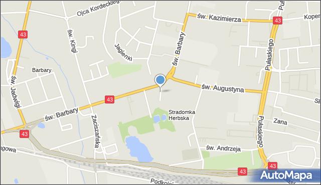 Częstochowa, św. Piotra, mapa Częstochowy