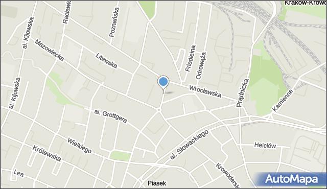 Kraków, Świętokrzyska, mapa Krakowa