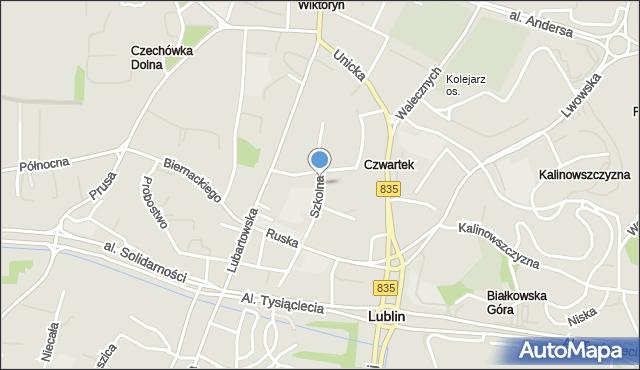 Lublin, Szkolna, mapa Lublina