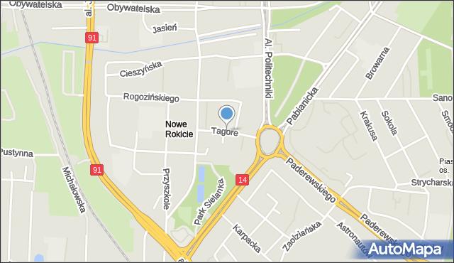 Łódź, Tagore Rabindranatha, mapa Łodzi