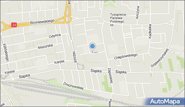 Łódź, Umińskiego Władysława, mapa Łodzi