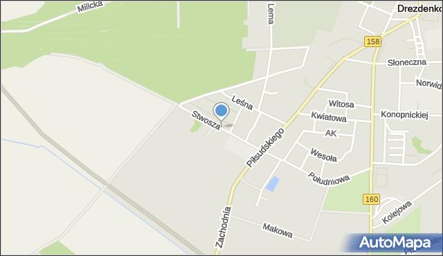 Drezdenko, Wita Stwosza, mapa Drezdenko