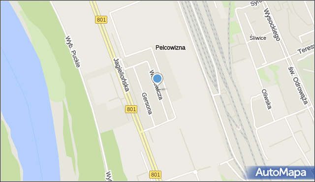 Warszawa, Witkiewicza Stanisława Ignacego, mapa Warszawy