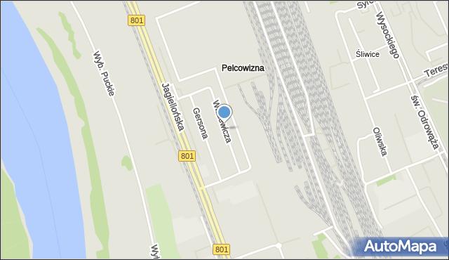 Warszawa, Witkiewicza Stanisława, mapa Warszawy