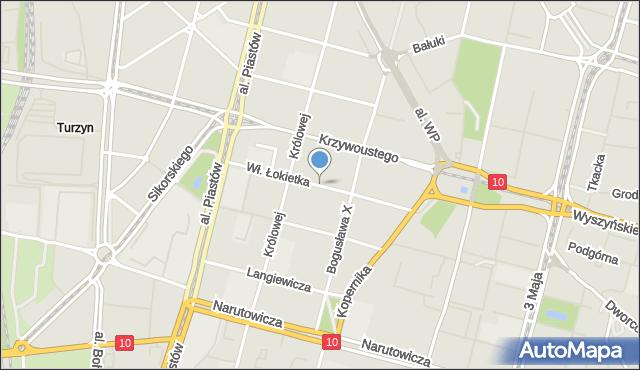 Szczecin, Władysława Łokietka, mapa Szczecina